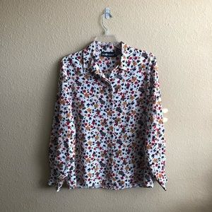 Sag Harbor Floral Button Down Collared Blouse